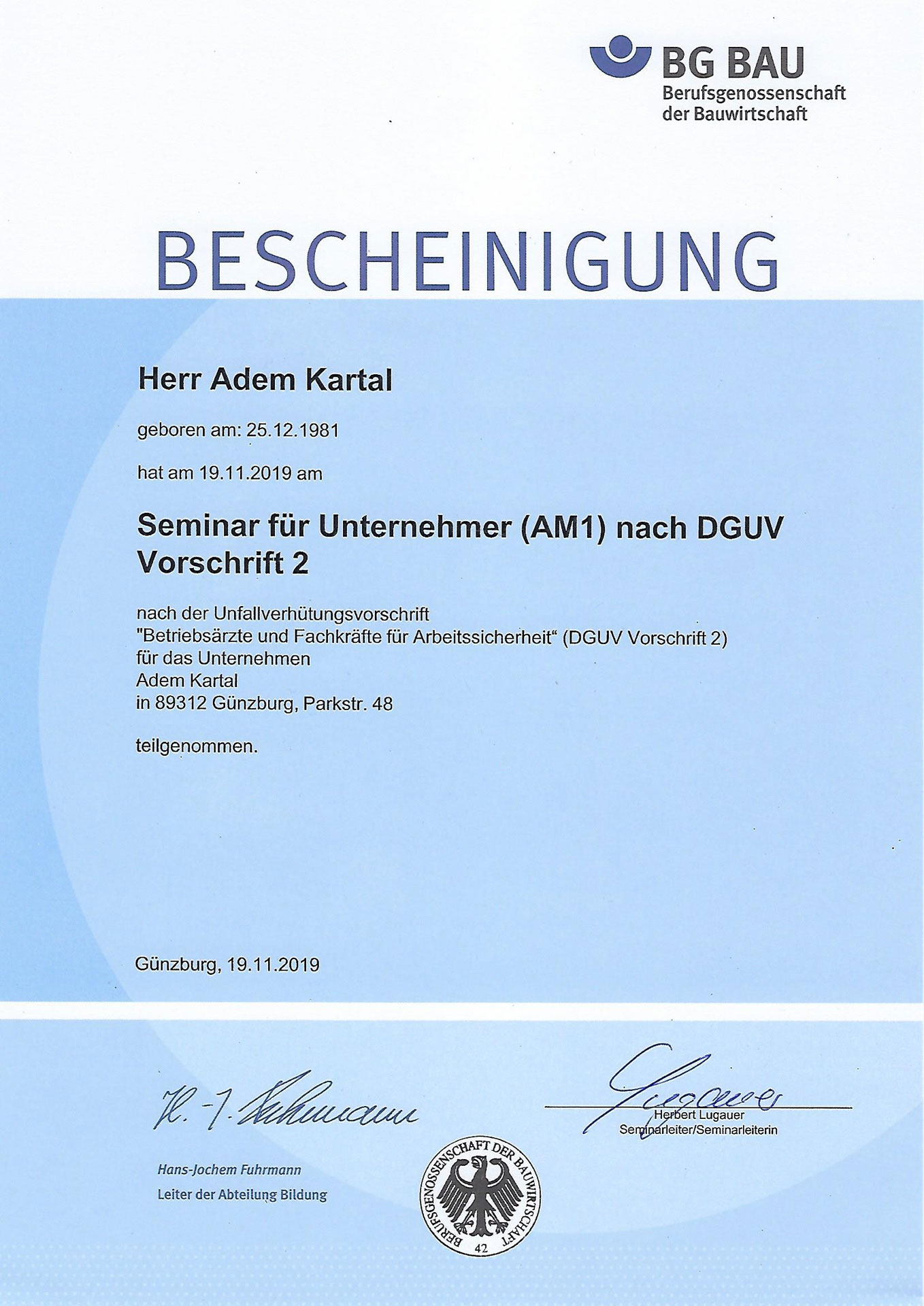 BG-Bau-Zertifikat