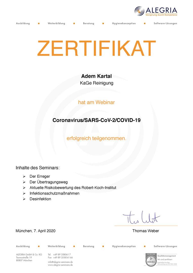 Zertifikat Corona Kartal